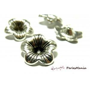 10 perles intercalaires coupelles coquille 2A6425 Fleur 3D Vieil argent
