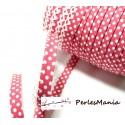 1 m ruban biais dentelle Pois Rose Fushia et blanc 12mm ref 71486 couleur 35