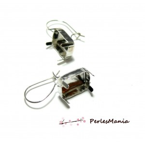 2 supports de Boucles d'oreille Dormeuse Argent Platine rectangle 10 par 14mm ID31520