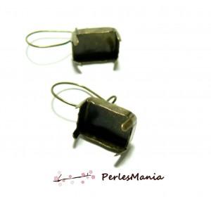 20 supports de Boucles d'oreille Dormeuse Bronze rectangle 13 par 18mm ID31521