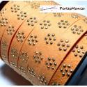 1 mètre de cordon de suédine fleur cloutée doré aspect Daim Orange pastel HL10711