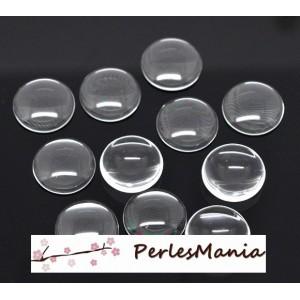 PAX 10 cabochons en verre transparents 25mm par 6mm S1114324