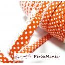50 cm ruban biais dentelle Pois Orange et blanc 12mm ref 71486 couleur 95