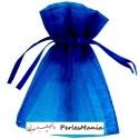 10 pochettes cadeau, sachet organza bleu électrique 100 par 150 mm