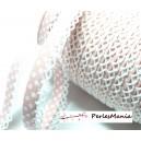 50 cm cordon ruban biais dentelle Pois Rose pale et blanc 12mm ref 71486 couleur 29