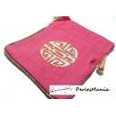 1 pochette sachet cadeau lin Rose fuschia ( 115 par 140mm)