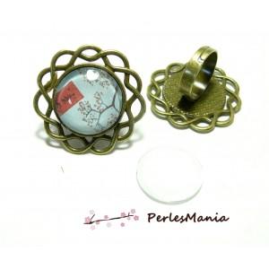 2 pièces: 1 bague ARTY art deco H3918 qualité 20mm BRONZE et 1 cabochon