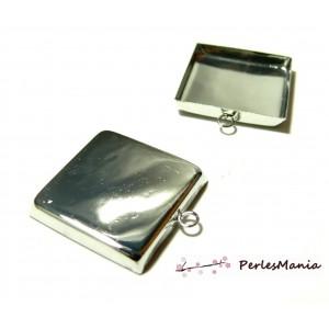 1 Support pendentif carré 18mm argent platine bord épais attache ronde