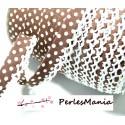 50 cm cordon ruban biais dentelle Pois Marron et blanc 12mm ref 71486 couleur 12