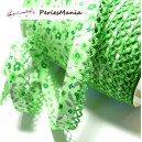 50cm ruban biais dentelle Fleur verte 12mm ref 71676 couleur 2814