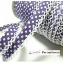1 m cordon ruban biais dentelle Pois violet et blanc 12mm ref 71486 couleur 52