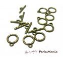 10 sets petits fermoirs 2W7817 toggle bronze travaillés pour création de bijoux