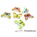 40 boutons en bois  multicolores Papillons ref H1130