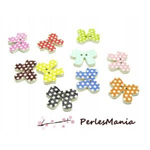 10 boutons en bois multicolores Noeuds à pois ref H1143