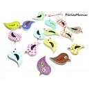 40 boutons en bois  multicolores Oiseaux ref H1134