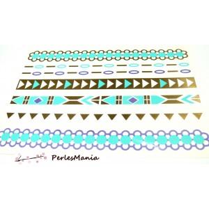 Planche de tatouages temporaires, tattoos éphémères métallique H8116 pour customisation
