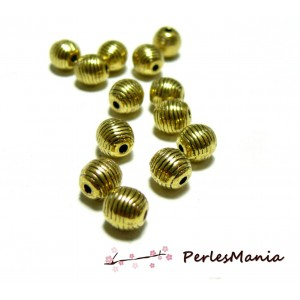 40 perles intercalaires en 6mm H6662 Vieil or style rayures