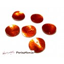 20 pendentifs nacre pastille sequins HQ208 ORANGE en 25mm