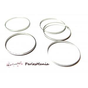 Apprêt pour bijoux: 10 pendentifs grand anneau rond argent platine 15mm ref 36