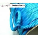 1 mètre de CORDON CORDE TRESSEE 5mm Bleu ref H705