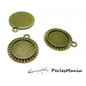 10 pendentif ARTY mini vague pour cabochon en 18mm ref 132 Bronze