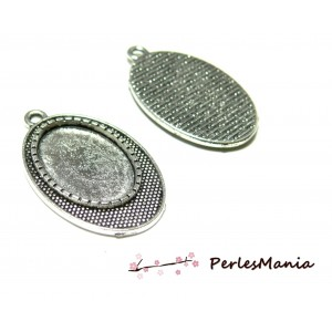 2 pendentif ARTY Ovale mini picot pour cabochon en 13 par 18mm ref 131 Vieil argent