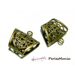 3 magnifique bélière 2K1244 coeur accroche foulard Bronze