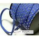 3 mètre de cordon de suédine cloutée doré aspect Daim Bleu nuit 4.5mm PR411