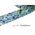 1m ruban  biais liberty 20mm B3258C fleuri ton bleu