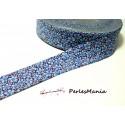 1m ruban biais liberty 20mm B3160E fleuri ton bleu