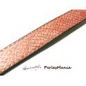 50 cm de cordon cuir plat 18mm Imitation ECAILLE Rose ref 247