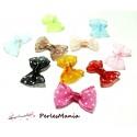 Lot de 20  noeuds à Pois Organza  multicolores H67M11 pour création de bijoux