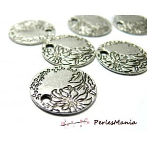 10 pieces breloques pendentif vague de fleur 2B 2604 viel argent