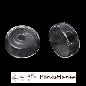 5 globes boule cabochon creux à remplir en verre plat des deux cotés 19 mm