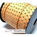 3 mètre de cordon de suédine cloutée doré aspect Daim Orange PR409