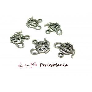 10 pendentifs breloque Théière VIEIL ARGENT ref108