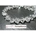 4 perles CUBE Diagonale 8mm veritable CRISTAL DE ROCHE GRADE AA ( très pur )