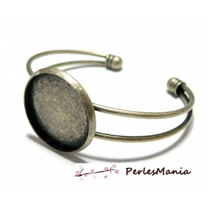 1 support de bracelet 18mm BRONZE ID23442 pour collage digitale