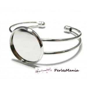 4 support de bracelet 18mm ARGENT PLATINE ID23442 pour collage digitale
