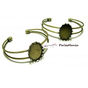 4 supports de bracelet OVALE 18 par 25mm BRONZE VAGUE pour collage digitale