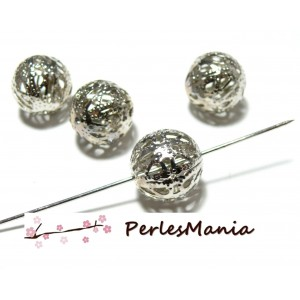 50 perles intercalaire ronde dentelle filigrane 12mm H512 ARGENT PLATINE