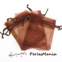 10 pochettes organza MARRON GM ( 10 par 15cm ) pour bijoux, dragés....