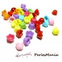 50 mini fleur acrylique multicolores P99M45 taille 9 par 7mm