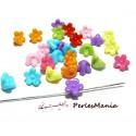 100 mini fleur acrylique multicolores P99M28 taille 11 par 7mm