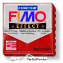1 pain 56g pate polymère FIMO EFFECT ROUGE PAILLETTE 8020-202