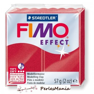 1 pain 56g pate polymère FIMO EFFECT ROUGE RUBIS METALLISE 8020-28