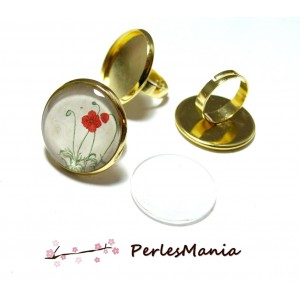 20 pièces: 10 SUPPORTS BAGUES 18mm OR ID 9540 et 10 cabochons, diy