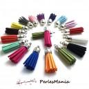 10 pompons breloque passementière 35mm suédine Multicolore ARGENT