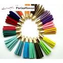10 pompons breloque passementière LISSE 30mm suédine Multicolore DORE