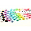 200 cabochons demi perle nacré fond plat multicolores Nail Art 4mm